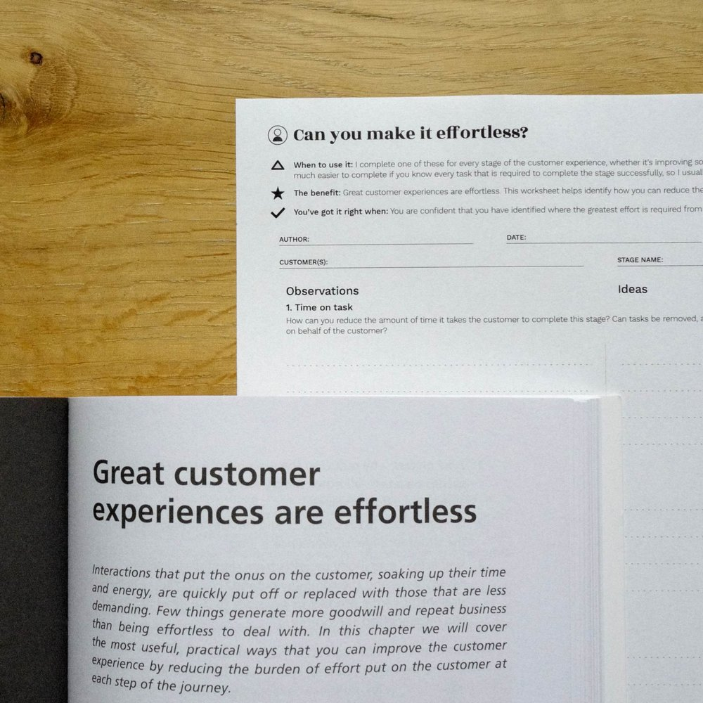 The Ten Principles Behind Great Customer Experiences book and worksheet together