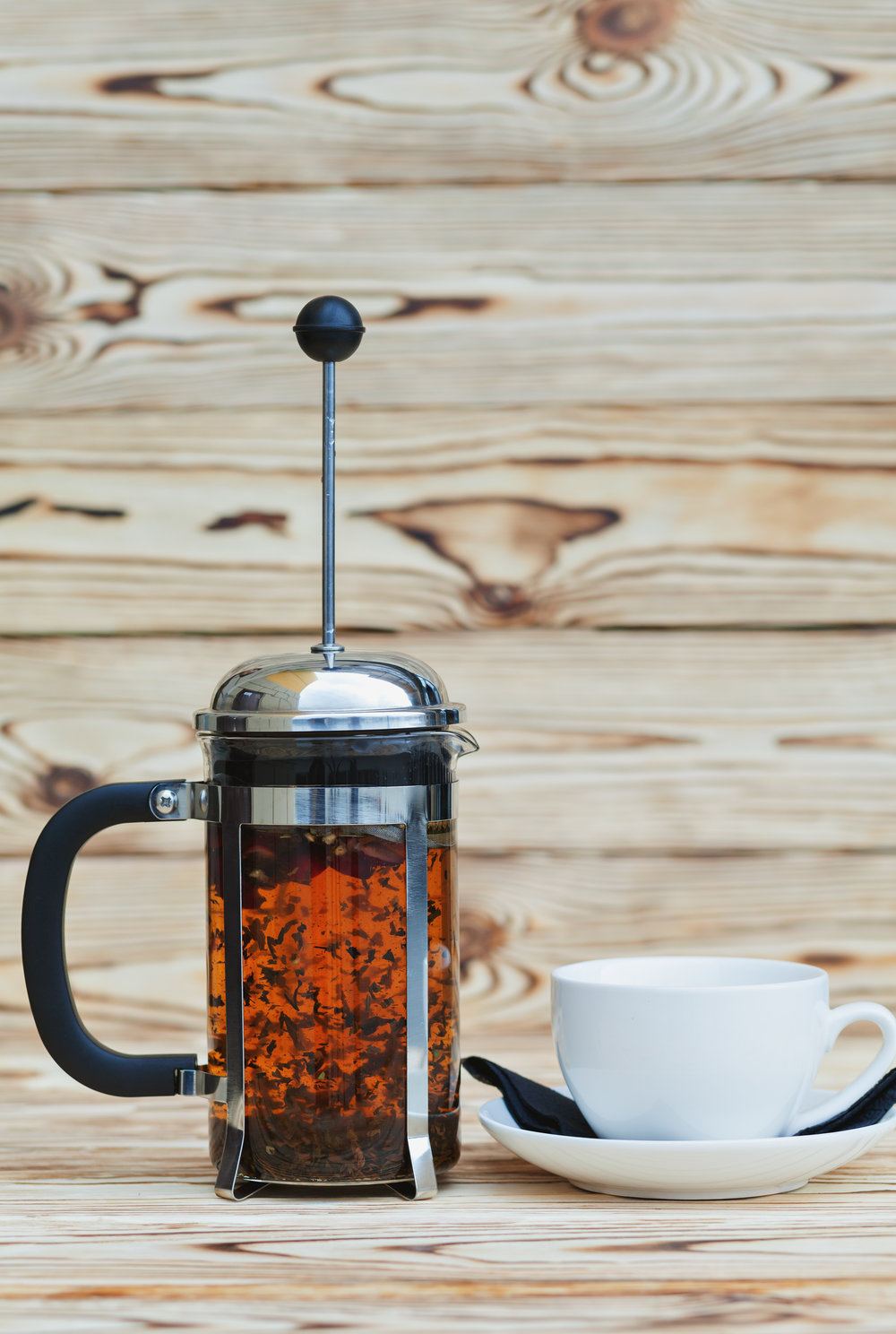 A French press is a great tool for making cascara tea, hot or cold.