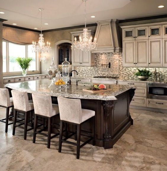 Modern Style kitchen with wooden bar type island