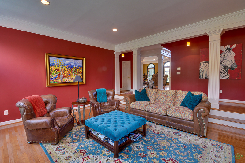 Modern design living room with blue and red printed carpet