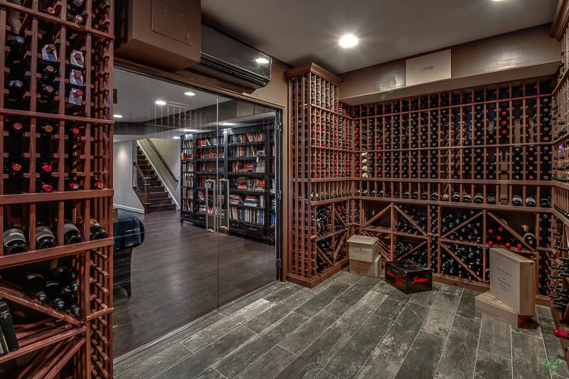 Glass door of wine storage