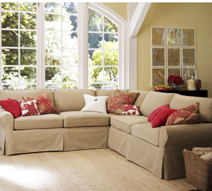 "Pb Basic Sectional – this is their ""First"" sofa… and that is one deep corner! Notice how far back the cushions lean?"