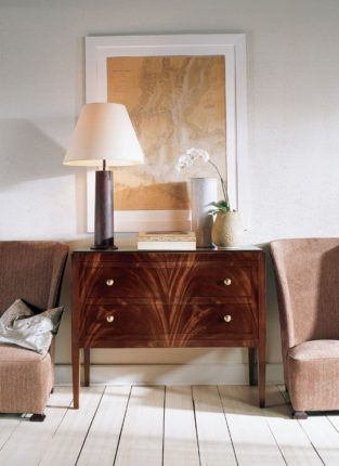 A beautifully grained antique chest with interiors by Thomas O'Brien as seen in Traditional Home Magazine.