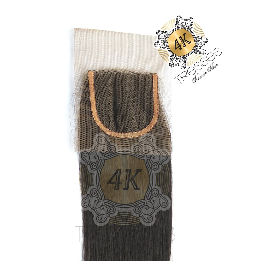 100% RAW Indian Human Hair 4X4 Closures: Lace-Base