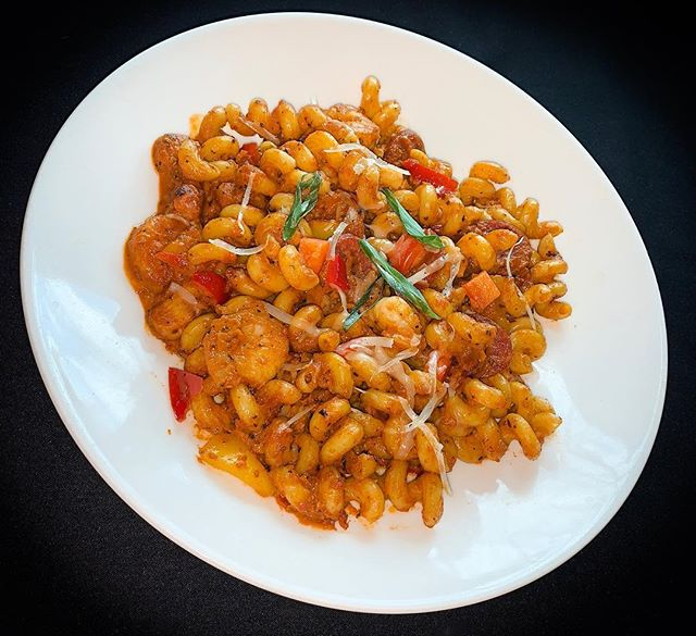 Do you have dinner plans tonight? How about coming to eat with us and having our delicious food! —————————————————————————— Pictured is our Cajun Pasta: Sautéed shrimp, chicken and andouille sausage in cavatappi pasta with peppers and cajun cream sauce