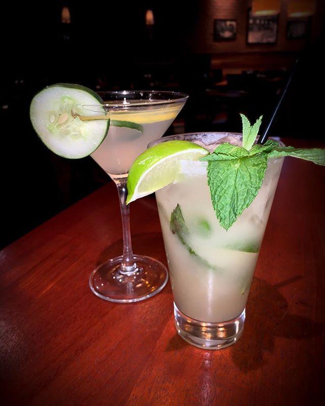 Two drinks you NEED in your life!! Left: The Geisha Martini- Absolut vodka, Shochu, Soho lychee, fresh cucumber, lemonade  Right: Coconut Mojito- Malibu rum, fresh mint, lime, coconut cream, pineapple juice #chatt #drinklocal #martini #mojito