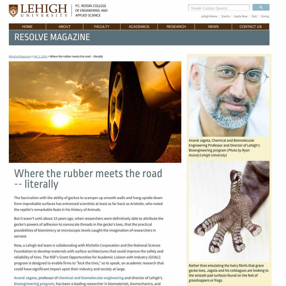 Where the Rubber Meets the Road—Literally ,  Resolve  (Lehigh University). Gecko-inspired design innovations for tire design.