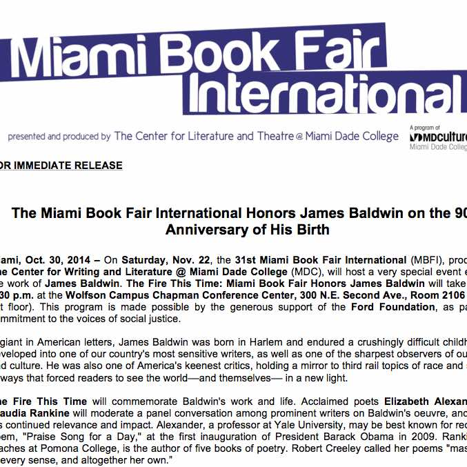 Miami Book Fair International: James Baldwin honored on the 90th anniversary of his birth.