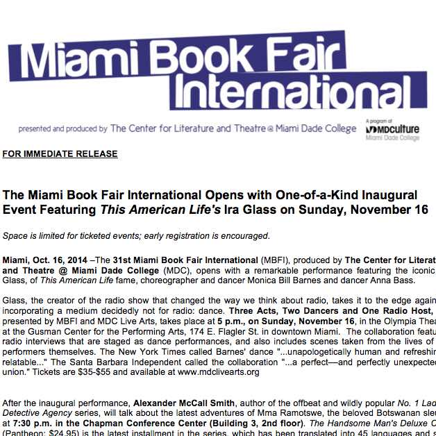 Miami Book Fair International: Opening night with Ira Glass of This American Life.