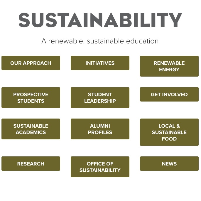 University of Minnesota-Morris : Sustainability website. Conceived and wrote multi-page website with broad audience for thought leader in sector.