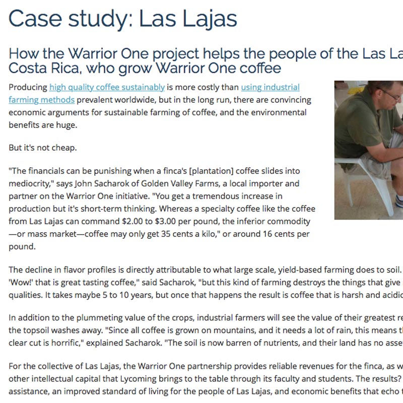 Lycoming College, Sustainable coffee website. Case Study: Las Lajas.