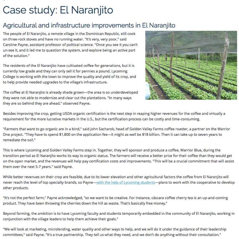 Lycoming College , Sustainable coffee website.  Case Study: El Naranjito.