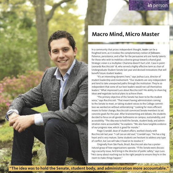 Macro Mind, Micro Master ,  Sarah Lawrence Magazine.  In a community that prizes independent thought,  leader  can be a freighted term, as it invokes the complementary notion of  followers…