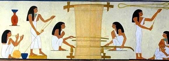Ancient Egyptians weaving and spinning