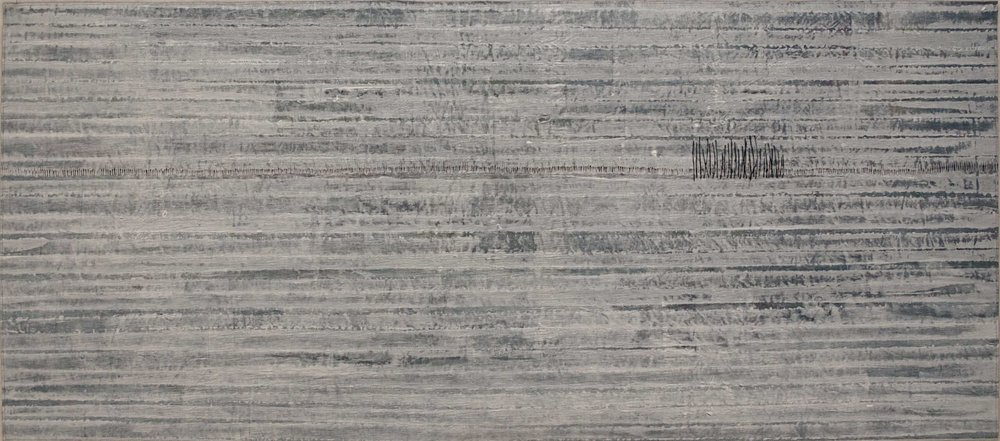 'Arctic Boundary'. Cotton, acrylic paint & ink, hand stitch. 138cm wide x 61cm tall