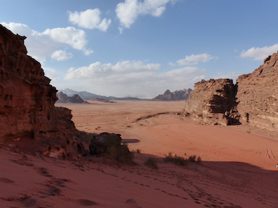 Towering heights and sloping dunes, Wadi Rum