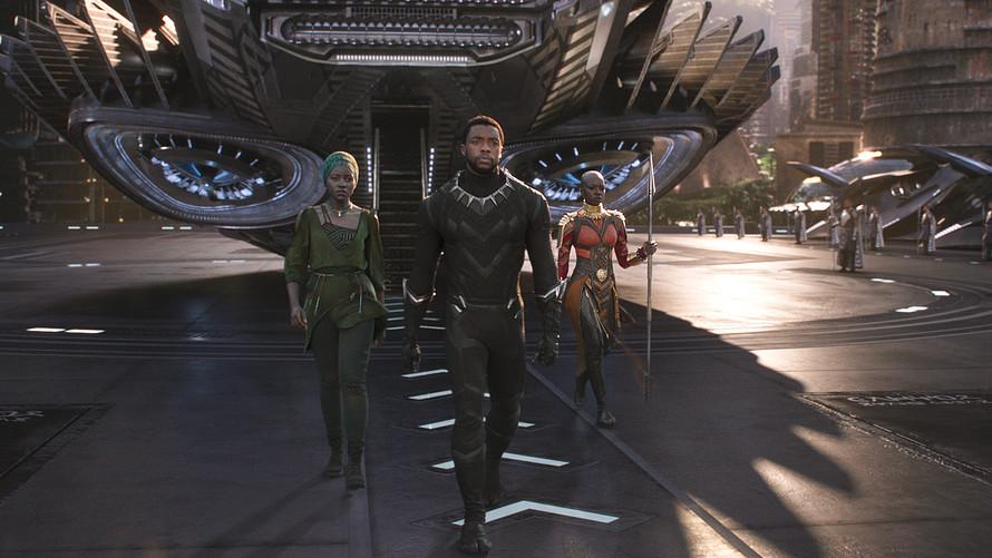 Chadwick Boseman (center), Lupita Nyong'o (left), and Danai Gurira (right). Image  via