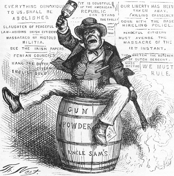 "Political cartoon by Thomas Nast – ""The Usual Irish Way of Doing Things""; Image  via"