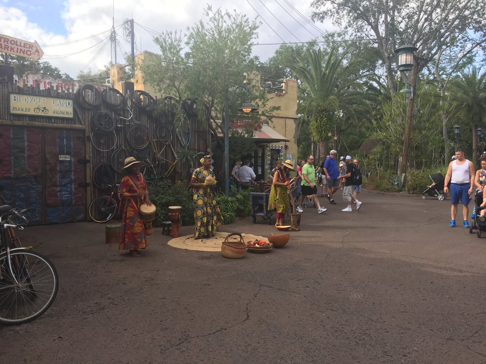African singers and musicians performing in the Harambe village.