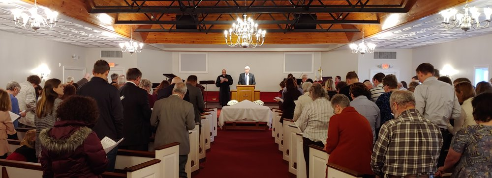 A recent Lord's Day worship service at Shore Harvest Presbyterian Church.