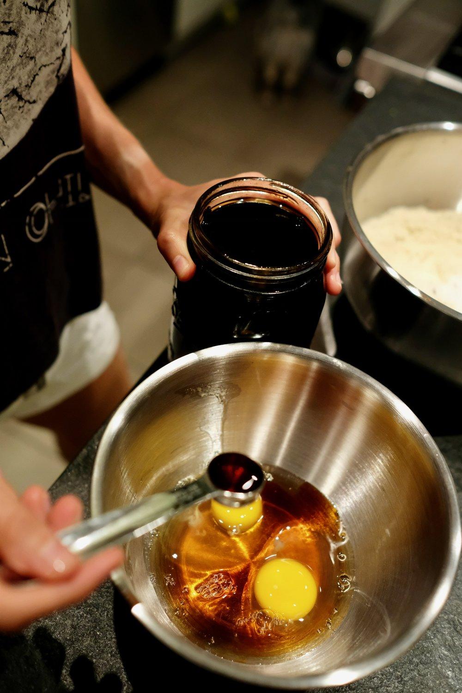 Combine wet ingredients with a hand mixer
