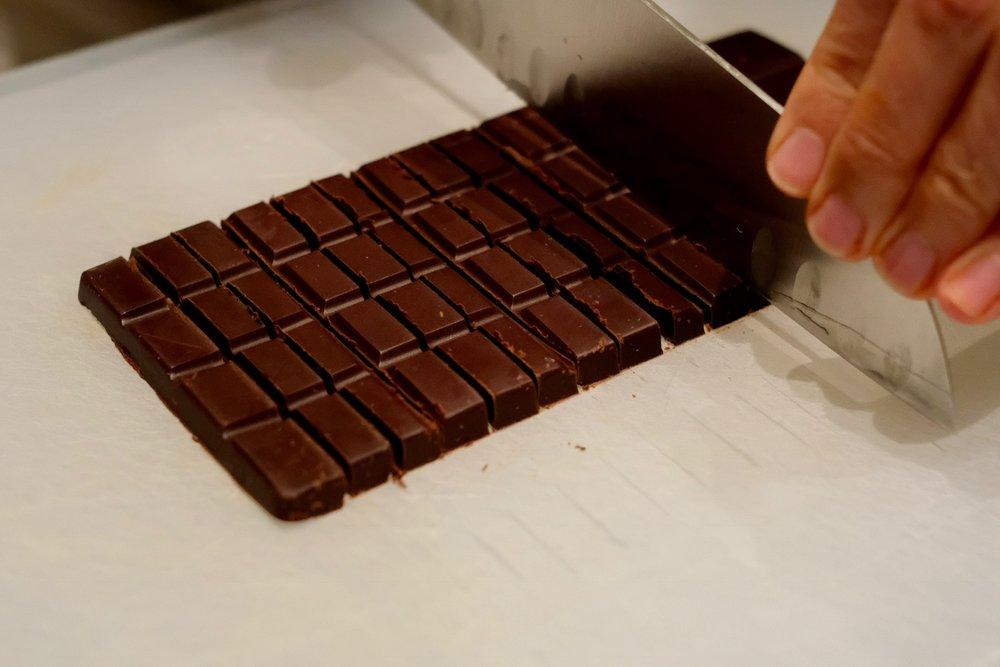 Chop the chocolate bar into chunks