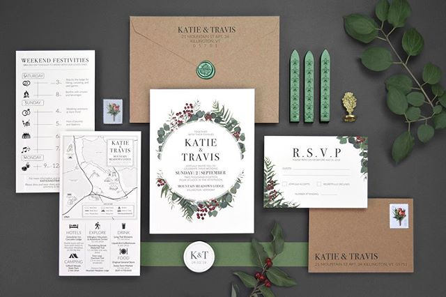 We were thrilled when Travis & Katie asked us to work on the invitations for their beautiful wedding weekend at Mountain Meadows Lodge in Killington, Vermont.  They wanted to make sure that the invitations would be a useful resource for their guests, so we created an informational insert that included a custom illustrated map and wedding timeline. The map incorporated all of the wedding event locations, local hiking trails, and lodging options; while also providing suggestions for places to explore in the area, along with a timeline for when the events would be happening. Including an insert along with your invitations can help minimize guest questions and create a more fluid and memorable experience for your guests. _____________________ #weddingideas #weddinginspo, #weddingseason #wedding #weddingdesign #weddingidea #artofvisuals, #huffpostido, #vermontwedding #vermont #weddingmap #vtweddings #destinationwedding #illustration #map #custom #weddingideas #killingtonvt #killingtonwedding #weddinginspiration #flatlay #weddinginvitations #stationary #weddinginvite #rusticwedding #weddinginvitation #mountainmeadowslodge #mountainmeadowswedding #rusticinvitation #killingtonmountain #weddingdesign #invitationdesign