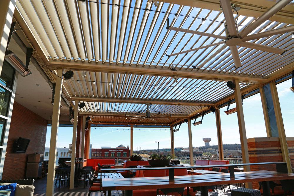 Commercial Patio Life 365 Motorized Roof Shades Pergola