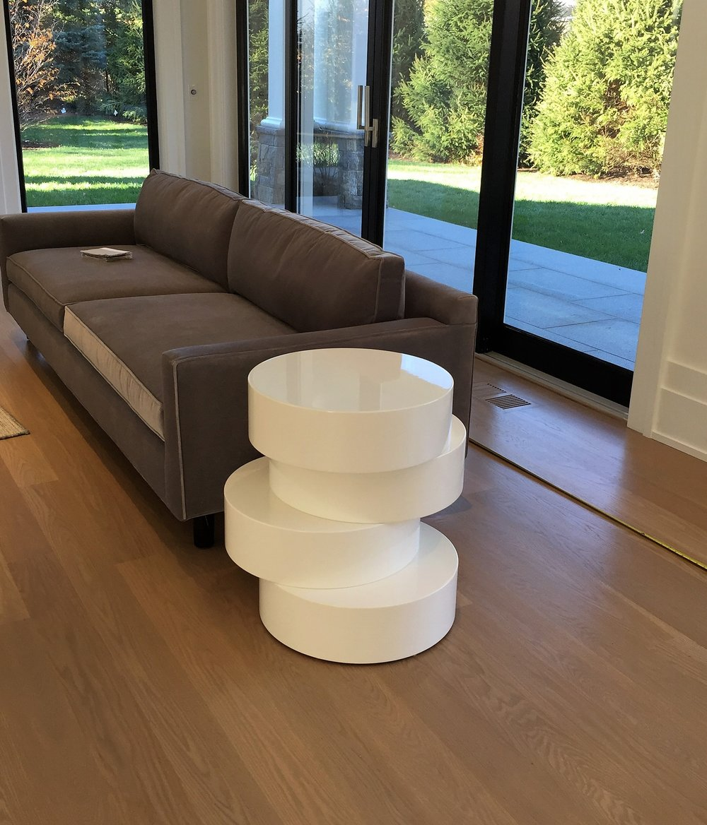 """Stacked Cirlcles"" endtable, high gloss white"
