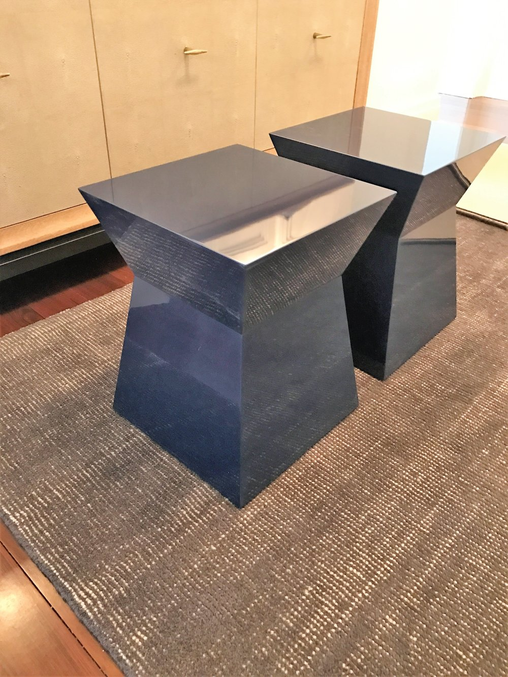 Trapezoidal end tables, high gloss navy.