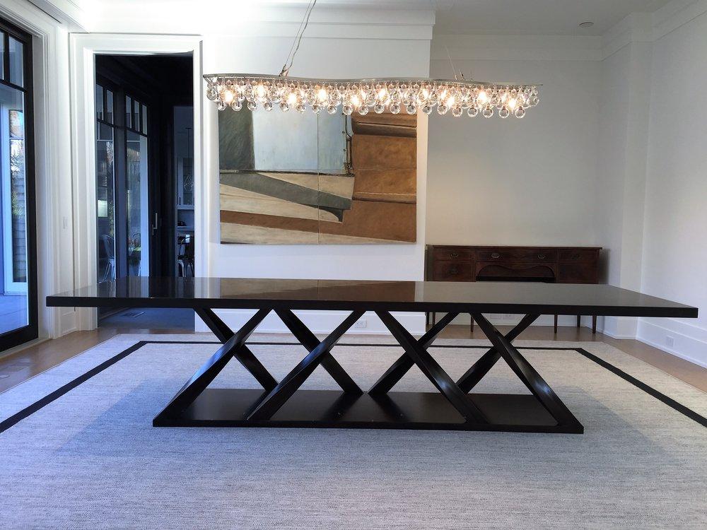 Mahogany, twist leg dining table, semi-gloss finish.