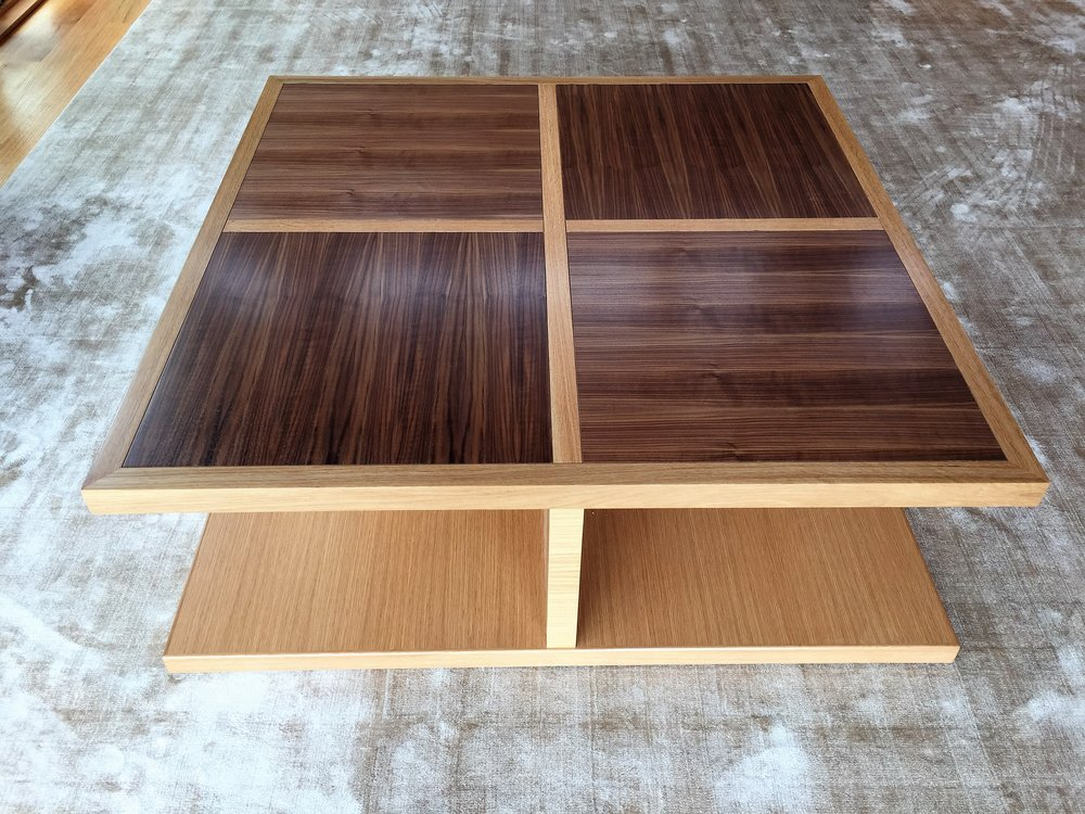 White oak and rift walnut coffee table.