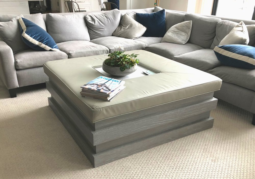 Coffee table and bench in ceruzed white oak.