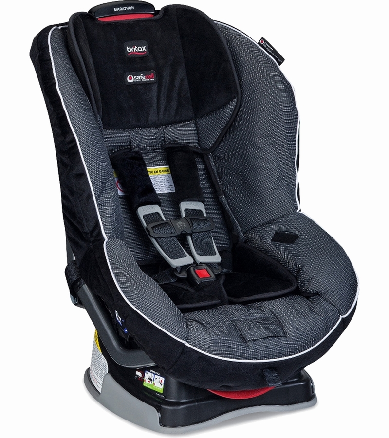 This Britax Marathon Convertible car seat holds 5-65 pounds and faces both rear and forward.