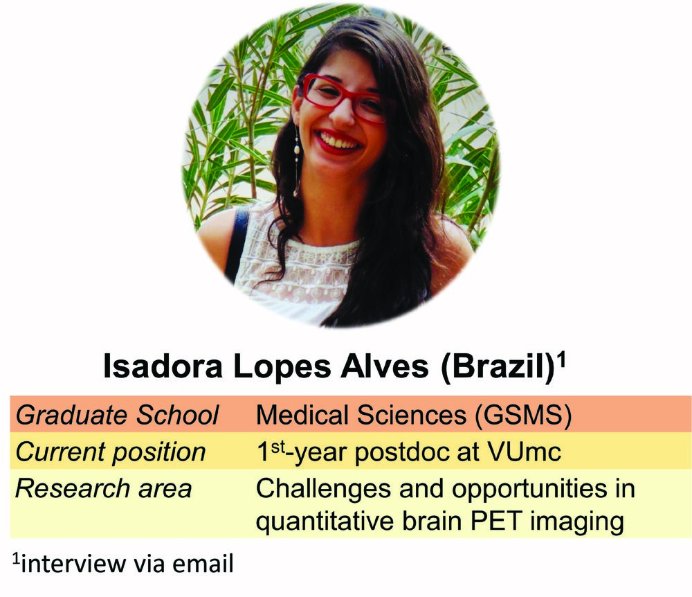 """…the more activities I was involved in, the more people I met who could provide mewith additional perspectives and suggestions for improvement."" - Isadora Lopes Alves, who recently graduated, has managed to do a lot of extra-curricular activities despite her short PhD."