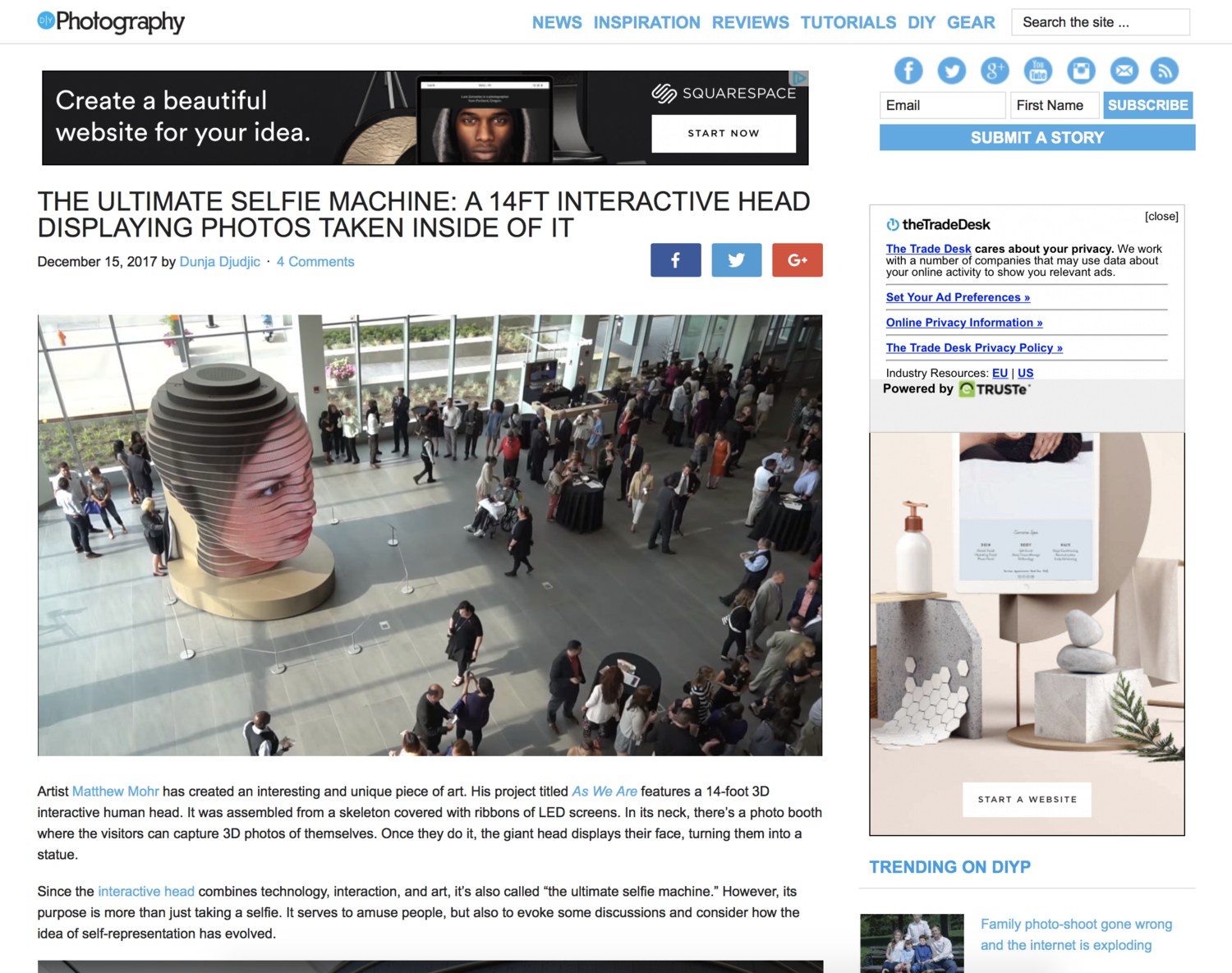 The ultimate selfie machine: a 14ft interactive head displaying