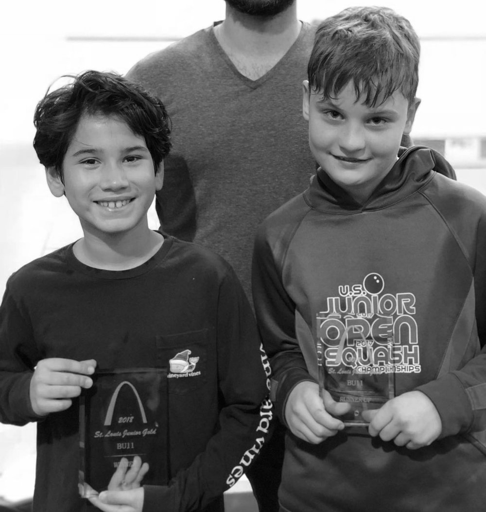 INFINITUM Squash Junior Academy player, Noah Goel won the Boys U11 of the St. Louis Junior Gold Tournament this weekend. Pictured here with finalist, Walter Plimpton.