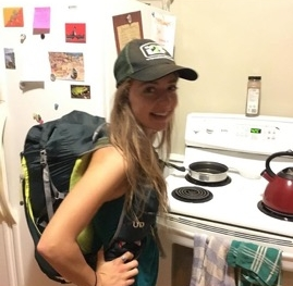 Wearing my 20lb pack around the house the night before I left...can you tell I was getting excited???   (Thanks to my roommate Travis for snapping this photo while I was making supper!)