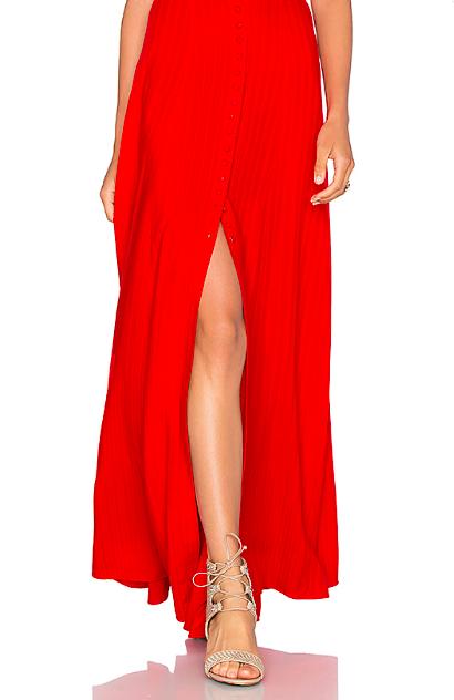 Red High Slit Skirt -