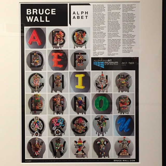 Bruce Wall ALPHABET 2015 #allentownartmuseum #sculpture #mixed media #brucewall #alphabet #contemporary art #found object #paint drips #assemblage
