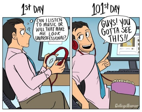 I had an office job for about 300 work days. This is 100% accurate. Source:  College Humor