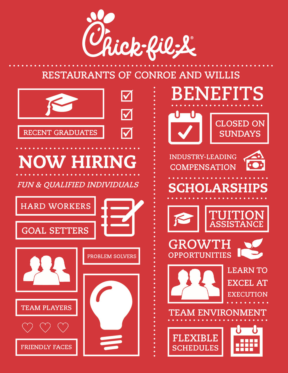 Join Our Team! - The Chick-fil-A Restaurants of Conroe and Willis is always looking for talented employees to help grow our business. If you are interested in joining our team, applications may be filled out and turned in either of our locations. Find more information about the benefits we offer our Team Members below.