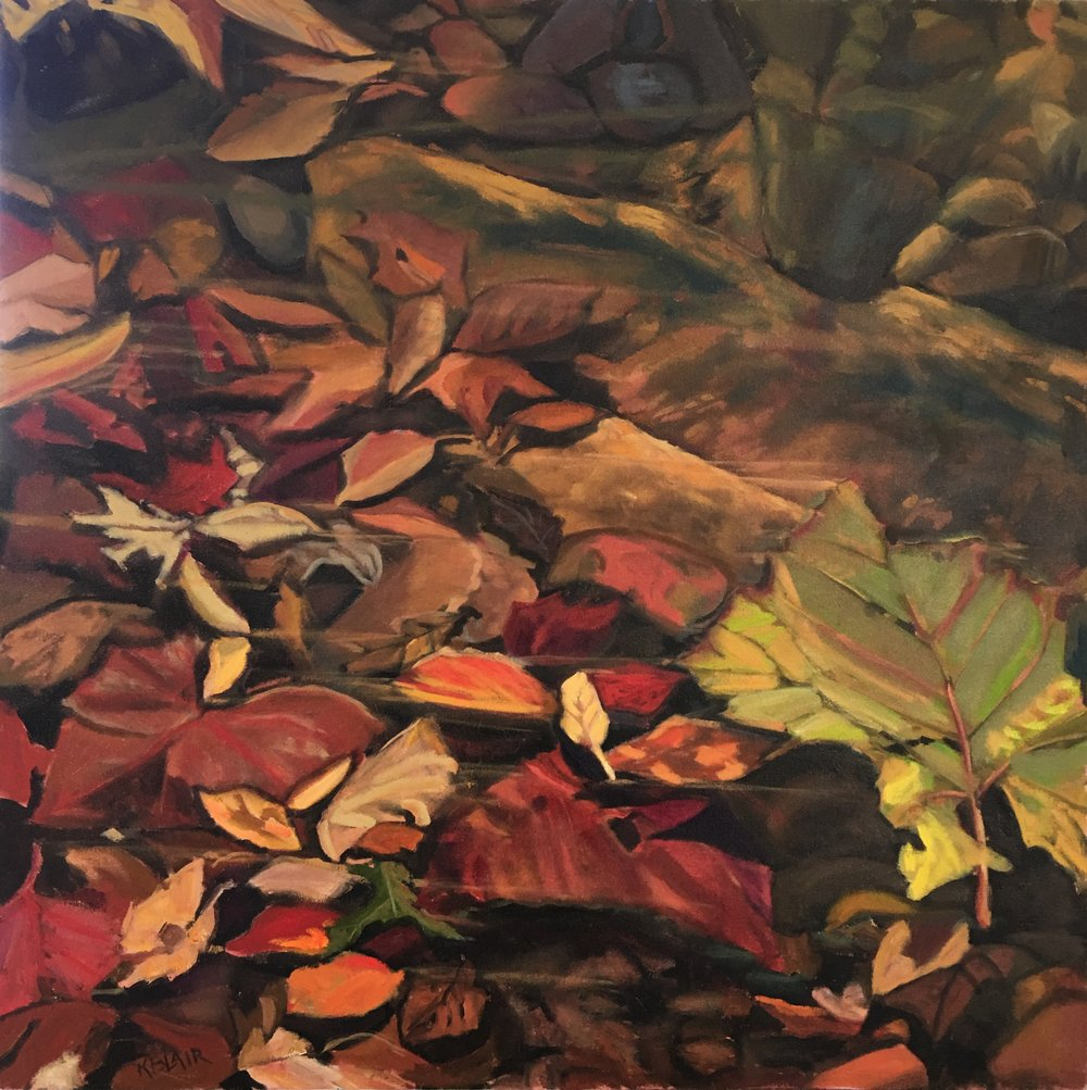 Leaves in Stream Bed, 36x36