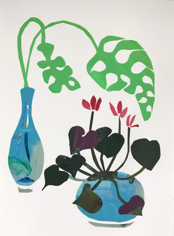 Collage, Cyclamen I, 30x23