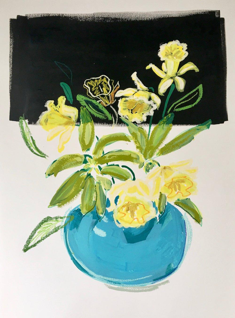 Daffodils in a Bowl I, 30x23