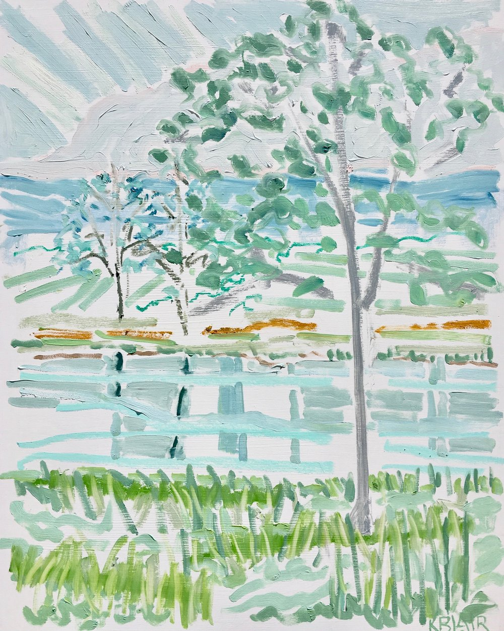 Trees by the Water I, 20x16