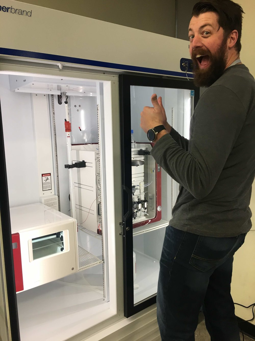 Luke is clearly excited about the new instrument!