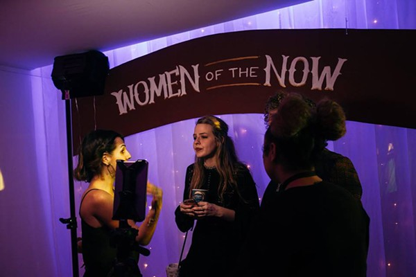 The Women of the Now crew interviewing Stage 18's Kaleigh Herter during their Femme Pyre event in March 2017.