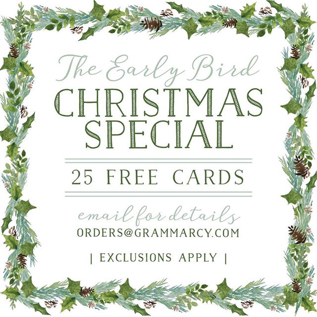 It's back!!!! It's our 25 free Christmas card - when you order a minimum of 100 - early bird special 🎄and what better way to kick off fall! Email us (link in profile) and while you're at it visit the link in our profile too...we've added tons of new designs to our holiday portfolio. Special ends October 31! . Here's what you need to know...you pay a deposit now to get on our design list and we just have to receive your picture no later than November 16th and you get 25 free cards (some exclusions apply)! . Who's in! Can't wait to get designing!