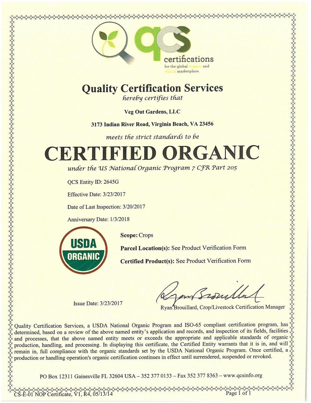 Organic Certification Veg Out Gardens